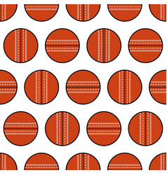 cricket ball seamless pattern sports equipment vector image