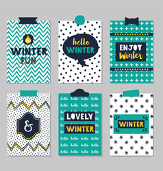 cute assorted winter quotes journal cards set on vector image vector image