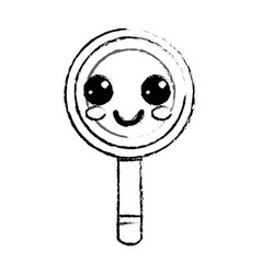 figure kawaii cute happy magnifying glass vector image