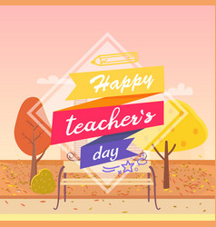 happy teachers day decorated vector image