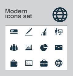 job icons set collection of increasing pen vector image