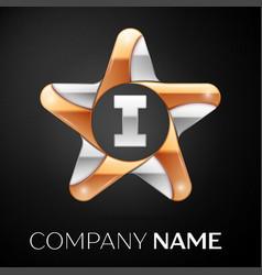 Letter i logo symbol in the colorful star on black vector