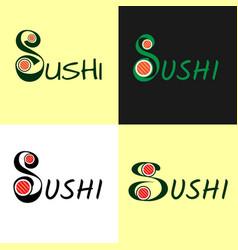 modern flat logo for sushi set roll japanise vector image vector image