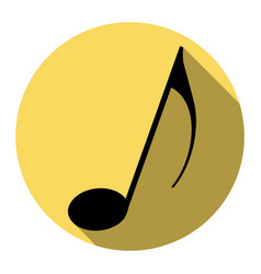 Music note sign flat black icon with flat vector