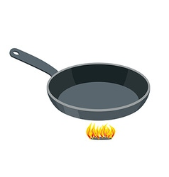 Pan on white background empty iron frying pan on vector