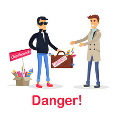 Process of buying counterfeit case with fireworks vector