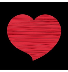 Red heart lines black vector