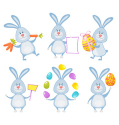 set of cute easter rabbits with easter eggs and vector image
