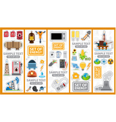 Set of energetics icons and logos energy vector