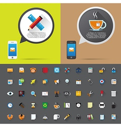 Smartphone alert and flat icons collection vector