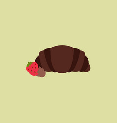 Strawberry chocolate croissant vector