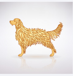 stylized yellow dog vector image vector image