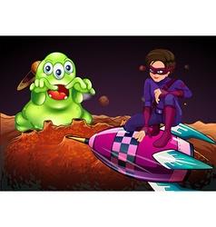 Superhero fighting alien on red planet vector