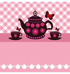 tea pot and tea cups vector image vector image