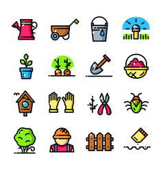 thin line garden icons set vector image