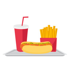 tray with fast food cartoon vector image