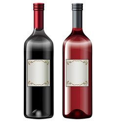 Two bottles of wine vector image vector image