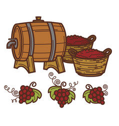 wine barrel grape vine harvest winepress vector image vector image