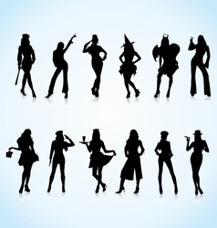 Women in Uniform Silhouettes vector image vector image