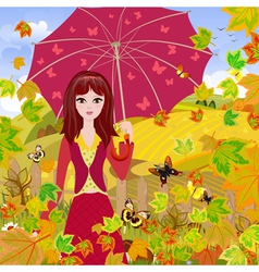 Autumn girl4 vector image