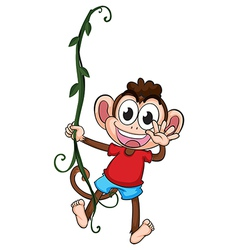 A monkey hanging on a plant vector