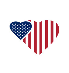 Two hearts painted in the colors of the us flag vector