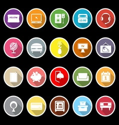 Bedroom icons with long shadow vector