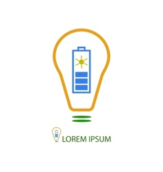 Bulb with solar battery as eco energy sign vector