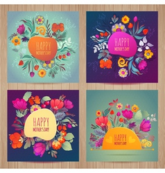 Happy motherss day greeting card set vector