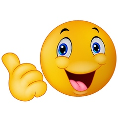 Happy smiley emoticon giving thumbs up vector