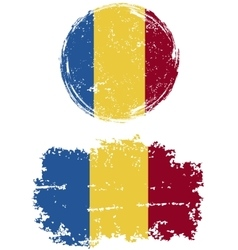Romanian round and square grunge flags vector