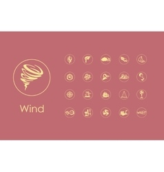 Set of wind simple icons vector