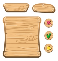 Wooden game assets-4 vector