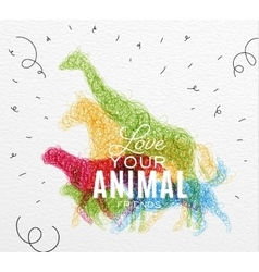 Poster animals tangled line vector