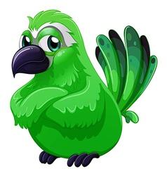 A scary green bird vector