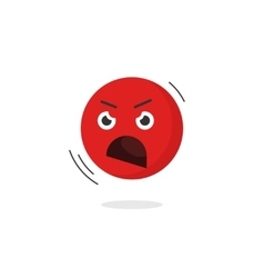 Angry emoticon face icon isolated shouting vector image