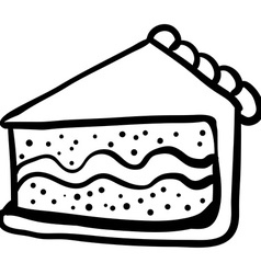 Black and white piece of cake vector