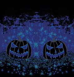 Broken halloween pumpkin on grunge background vector