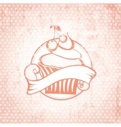 Cherry cupcake label vector