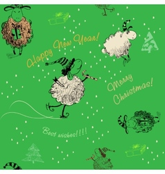 Christmas green seamless texture with sheep vector image vector image