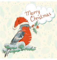 Christmas hand drawn ink retro postcard with bird vector image
