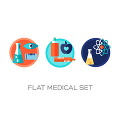 colorful flat medical icons set vector image