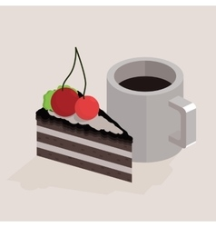 Cup of coffee and a piece cake isometric vector