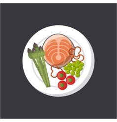 Fish and vegetables icon vector