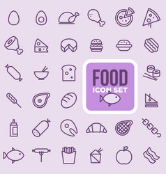 food icon set outline style vector image