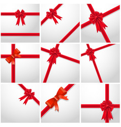 gift ribbon red bow collection set vector image vector image