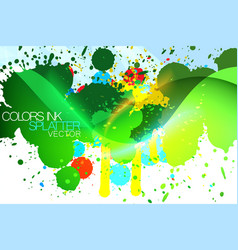 Grunge colorful ink splatter scene vector