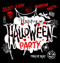 Halloween Party Design template with pumpkin and vector image