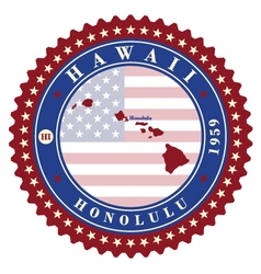 Label sticker cards of state hawaii usa vector