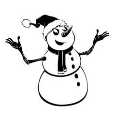 monochrome christmas snowman vector image vector image